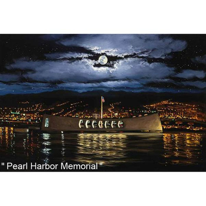 Pearl Harbor Memorial by Hawaii Artist Walfrido featuring a the Arizona Memorial at Pearl Harbor Memorial as seen at night on the Hawaiian island of Oahu.