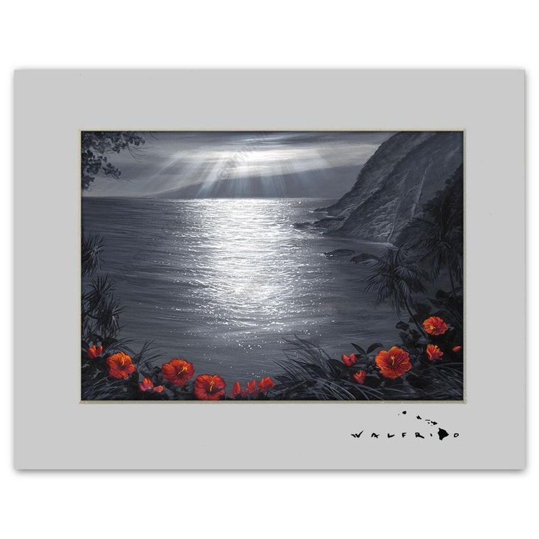 Open Edition Matted artwork by Tropical Hawaii Artist Walfrido featuring a serene view of the ocean framed by beautiful flowers.