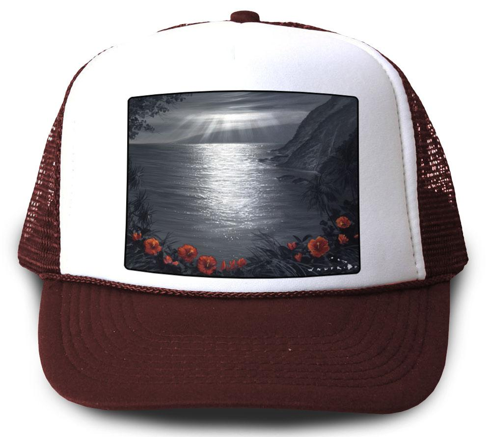 Recalling the View Maroon Mesh Trucker Hat by Walfrido