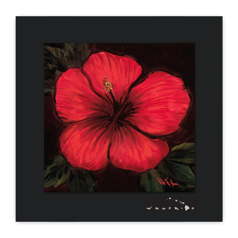 Open Edition Matted artwork by Tropical Hawaii Artist Walfrido featuring a unique, close-up view of a beautiful Hibiscus flower.