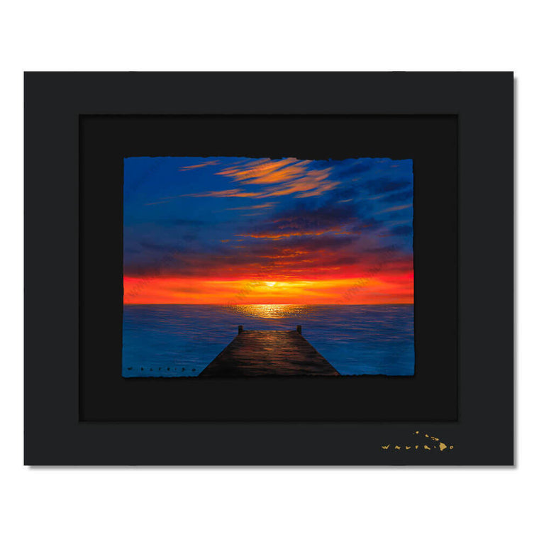 Limited Edition artwork on watercolor paper by Tropical Hawaii Artist Walfrido featuring a view down a dock towards the ocean as the last light of the sun disappears over the horizon.