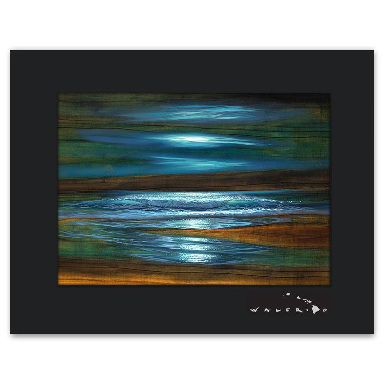 Open Edition Matted artwork by Tropical Hawaii Artist Walfrido featuring waves crashing towards the shore at night on Koa wood grain.