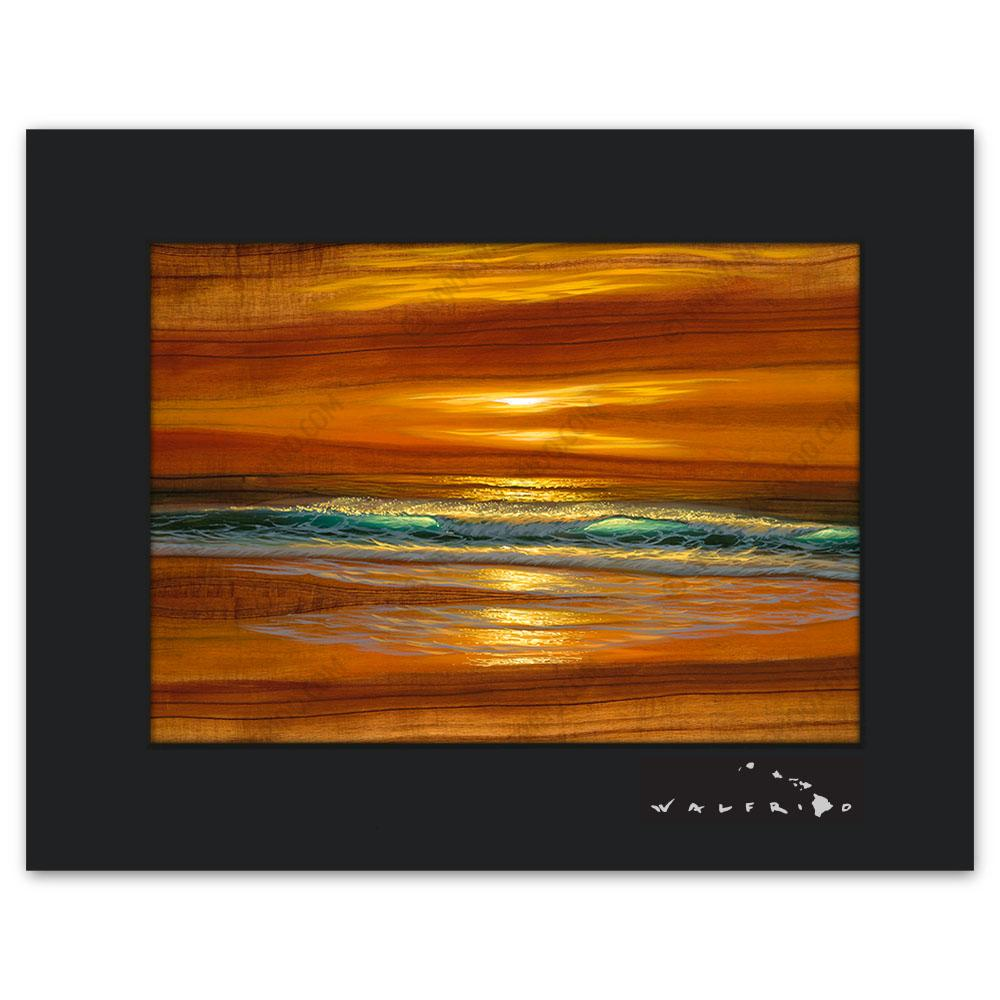 Open Edition Matted artwork by Tropical Hawaii Artist Walfrido featuring waves crashing towards the shore at sunset on Koa wood grain.