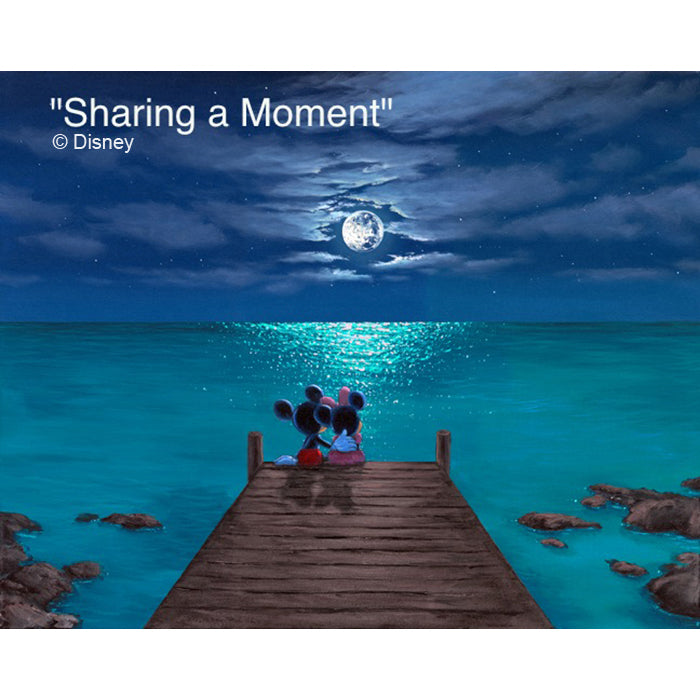 Sharing a Moment by Hawaii Artist Walfrido featuring the famous Disney couple, Mickey and Minnie Mouse watching the moon rise over the ocean together on their romantic vacation in Hawaii.