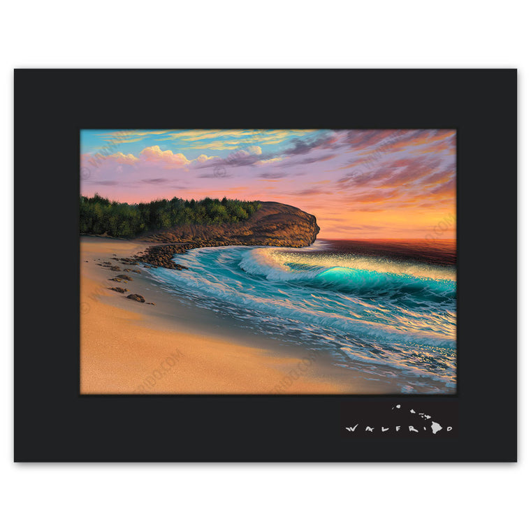 Shipwreck Beach - Open Edition Matted artwork by Tropical Hawaii Artist Walfrido featuring a beautiful view of the famous Shipwreck Beach on the island of Kauai.