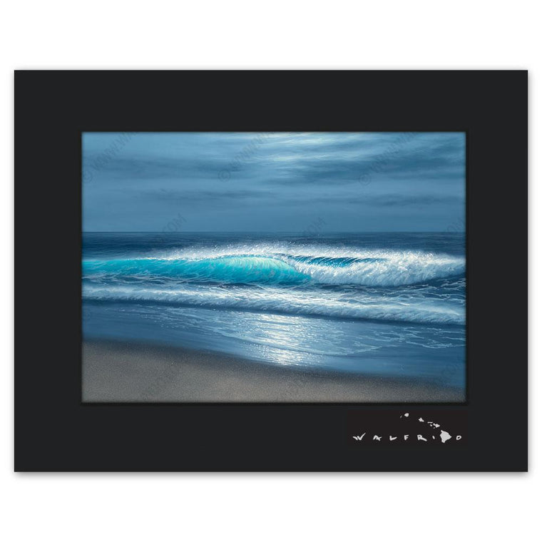 Open Edition Matted artwork by Tropical Hawaii Artist Walfrido featuring a crystalline blue wave crashing towards a sandy island beach.