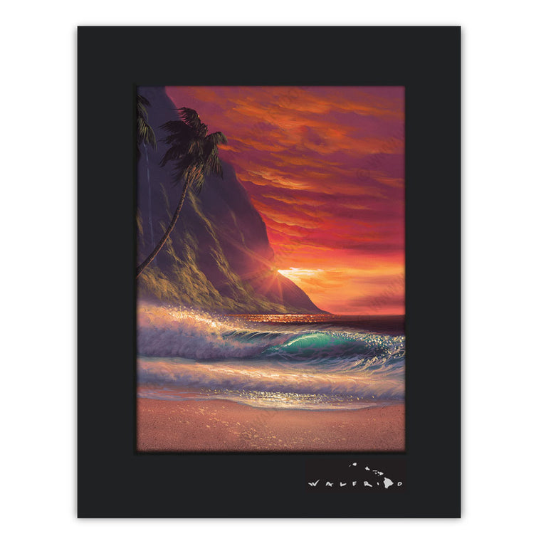 State of Love - Open Edition Matted artwork by Tropical Hawaii Artist Walfrido featuring a romantic sunset view of the ocean as seen from a tropical beach. This title is part of Walfrido's State of Mind series of paintings.