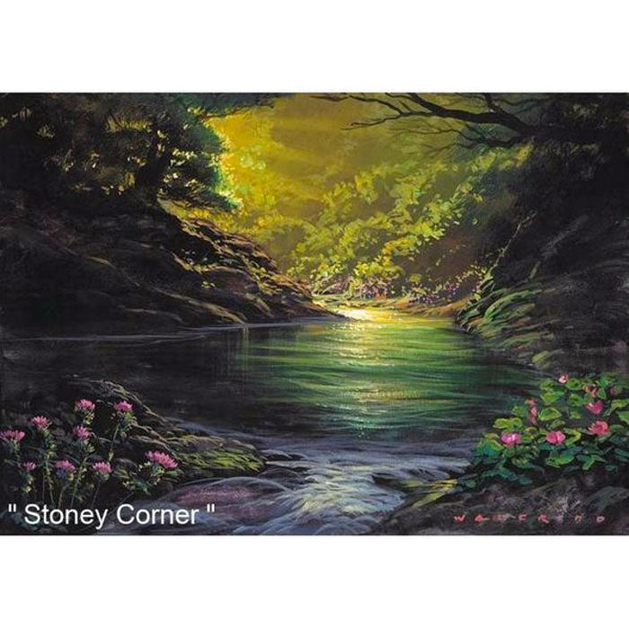 Stoney Corner by Hawaii Artist Walfrido featuring a beautiful spot in a forest near a relaxing river.