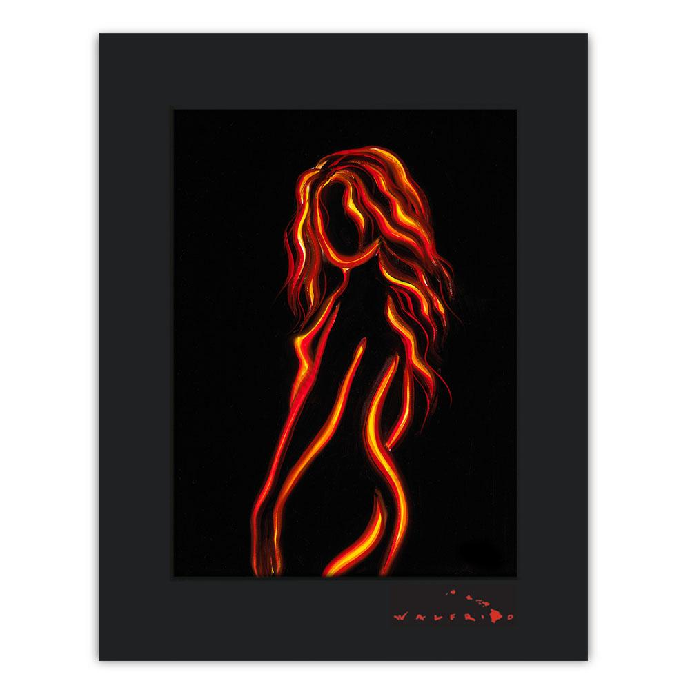 Open Edition Matted artwork by Tropical Hawaii Artist Walfrido featuring a silhouette of a nude woman.