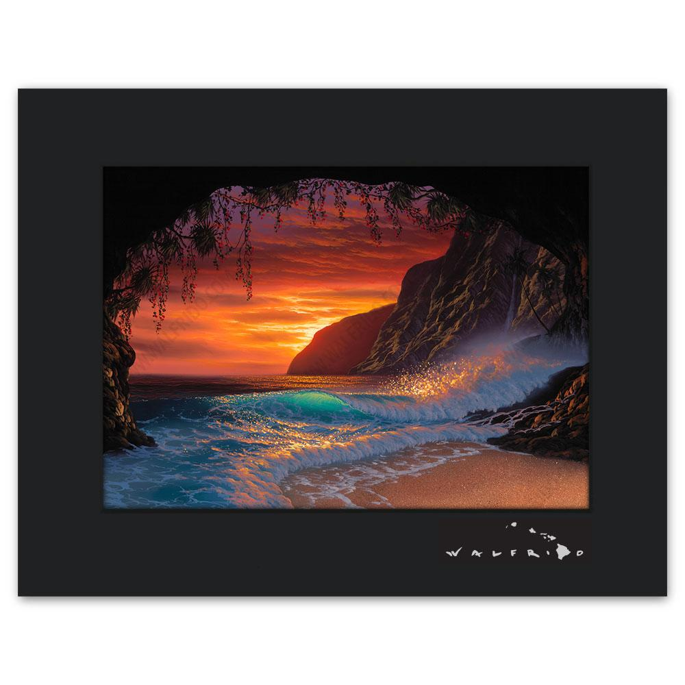 Open Edition Matted artwork by Tropical Hawaii Artist Walfrido featuring a view of the ocean as seen from a cave on a sandy beach at sunset.