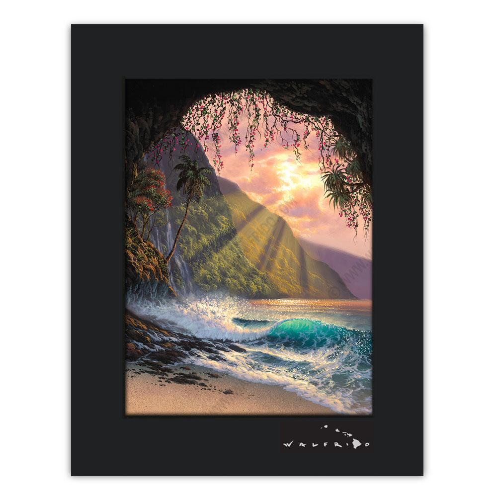 Open Edition Matted artwork by Tropical Hawaii Artist Walfrido featuring a crashing wave as seen from a cave on a sandy Hawaiian beach at sunset.