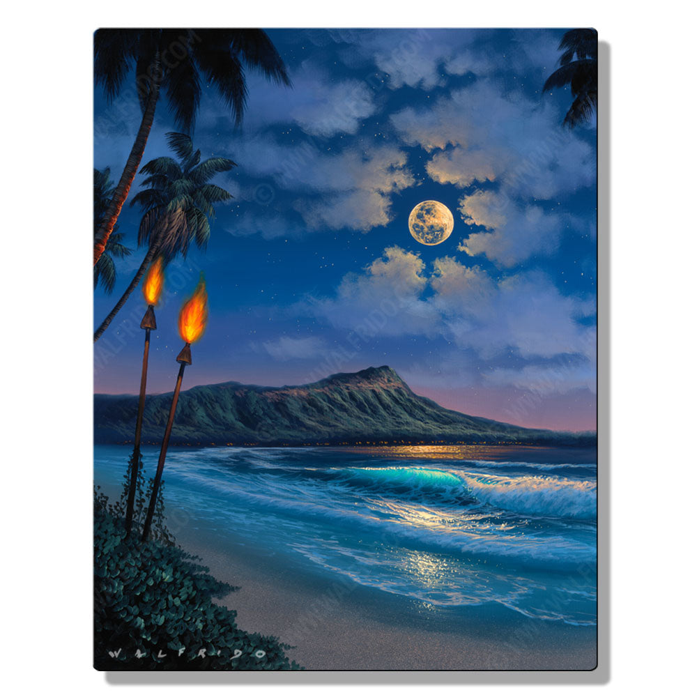 A Night for Romance, Open Edition Metal Print by Tropical Hawaii Artist Walfrido