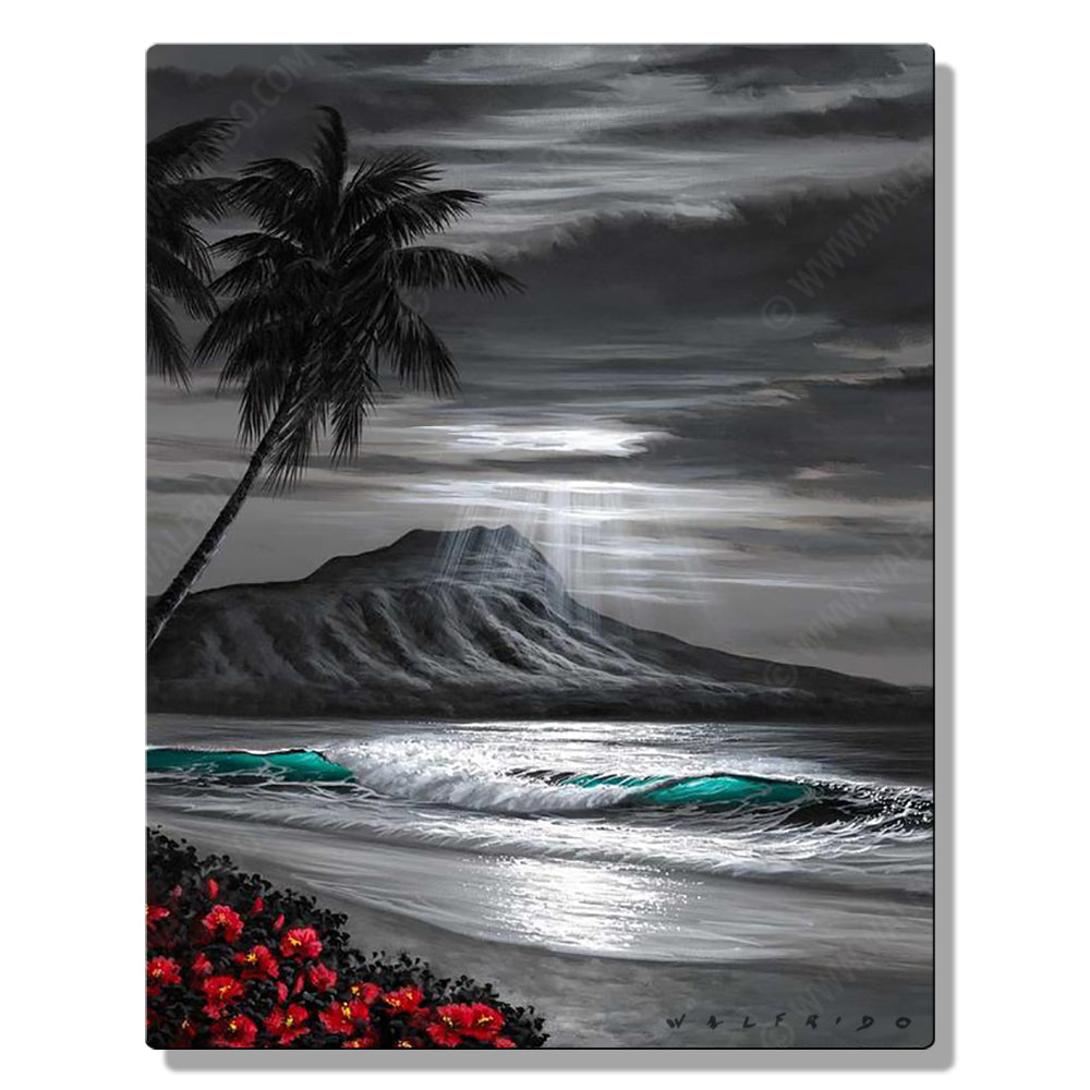 Black Diamond, Open Edition Metal Print by Tropical Hawaii Artist Walfrido