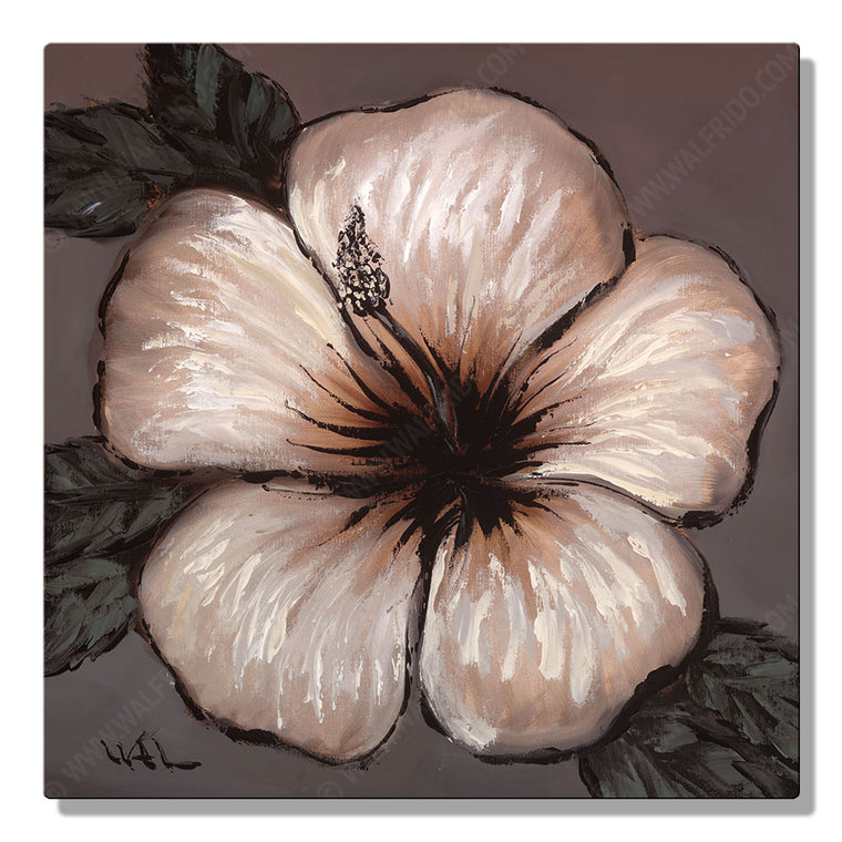 Chocolate Hibiscus, Open Edition Metal Print by Tropical Hawaii Artist Walfrido