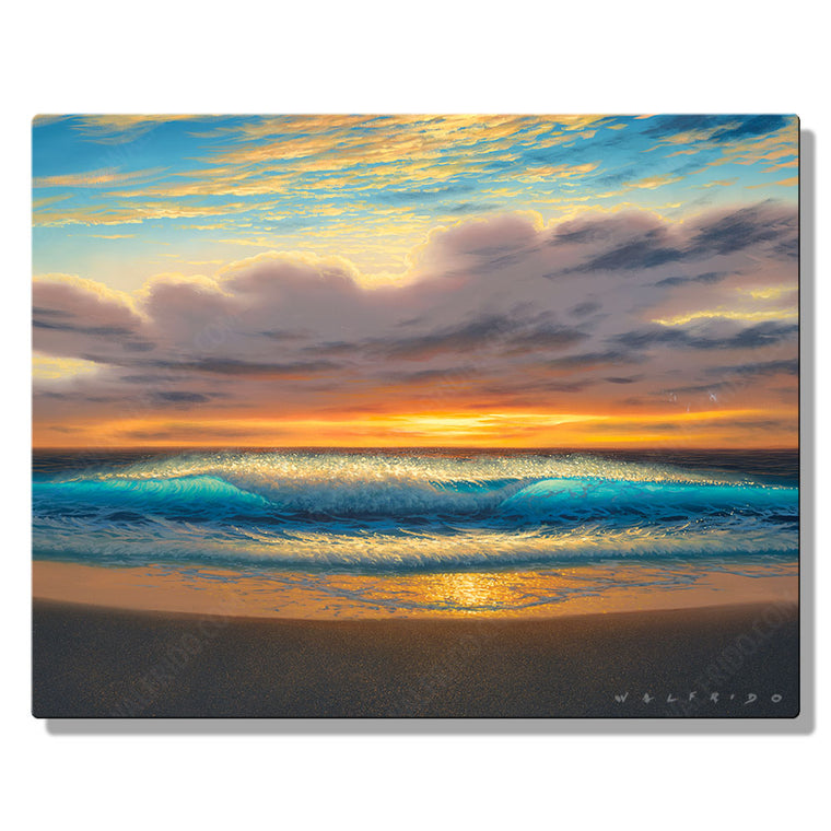 Golden Shores, Open Edition Metal Print by Tropical Hawaii Artist Walfrido