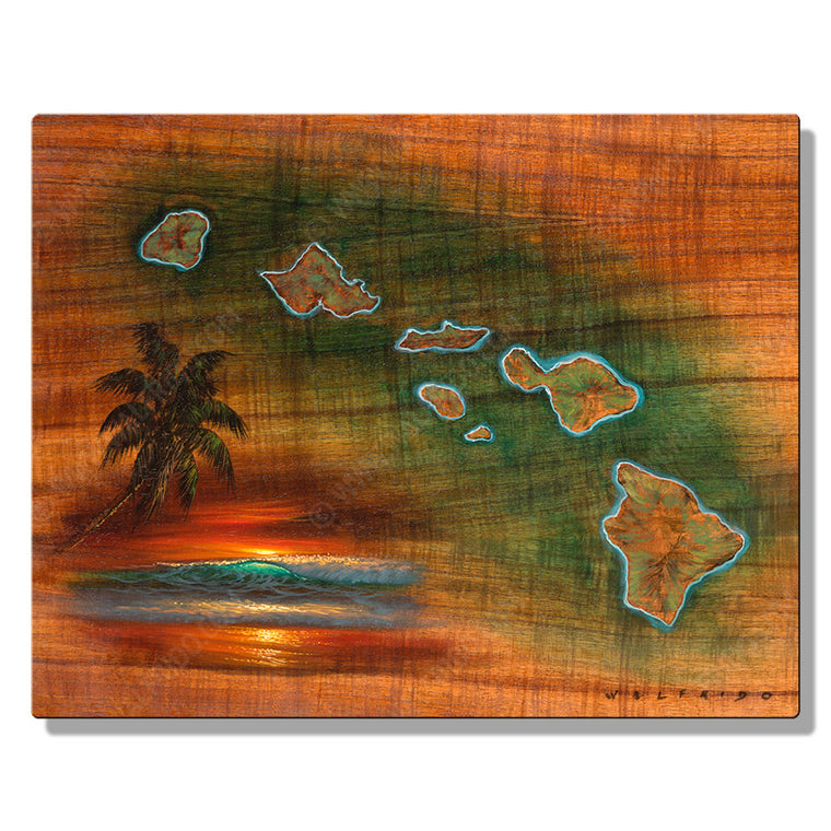 Hawaiian Islands Koa Map, Open Edition Metal Print by Tropical Hawaii Artist Walfrido
