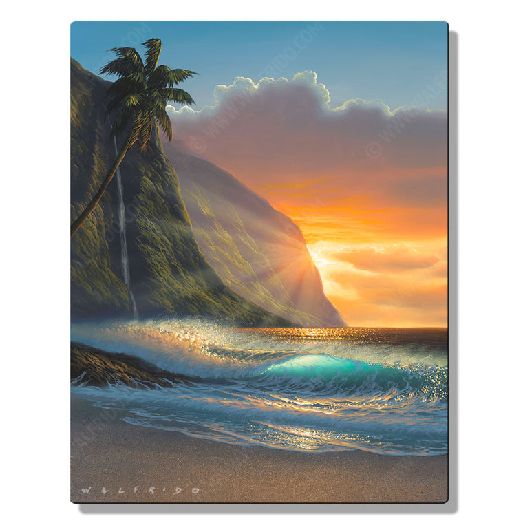 Island Paradise, Open Edition Metal Print by Tropical Hawaii Artist Walfrido