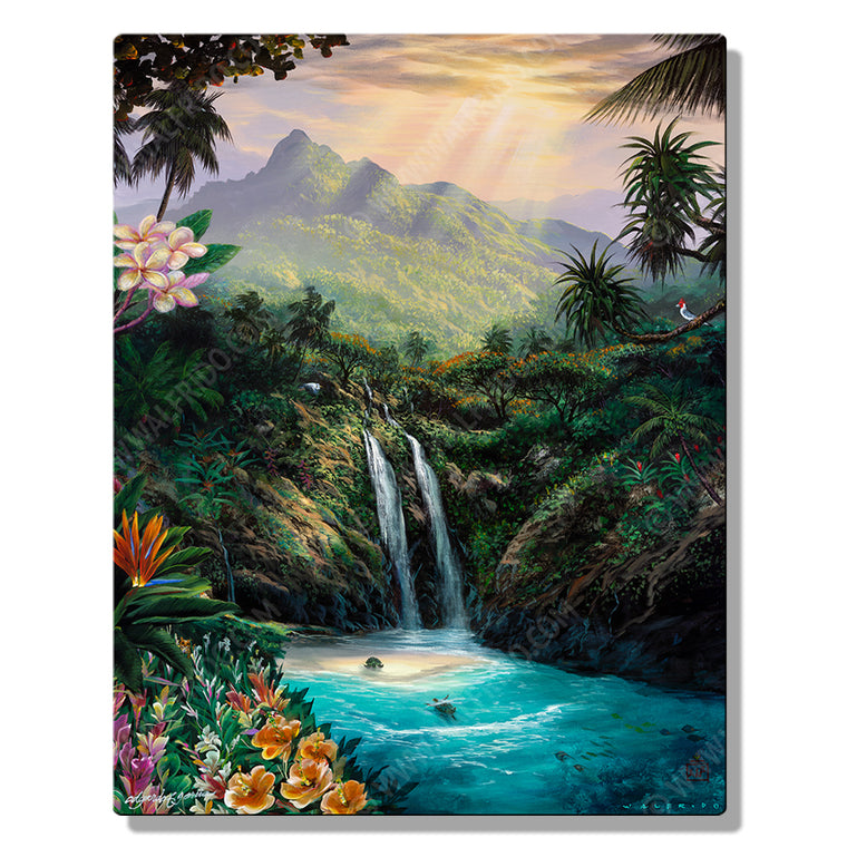 Living Aloha, Open Edition Metal Print ohana collaboration by Tropical Hawaii Artists Walfrido, Edgardo F. Garcia, and Edgardo Garcia II. It features a stunning view of an island waterfall with turtles swimming below.