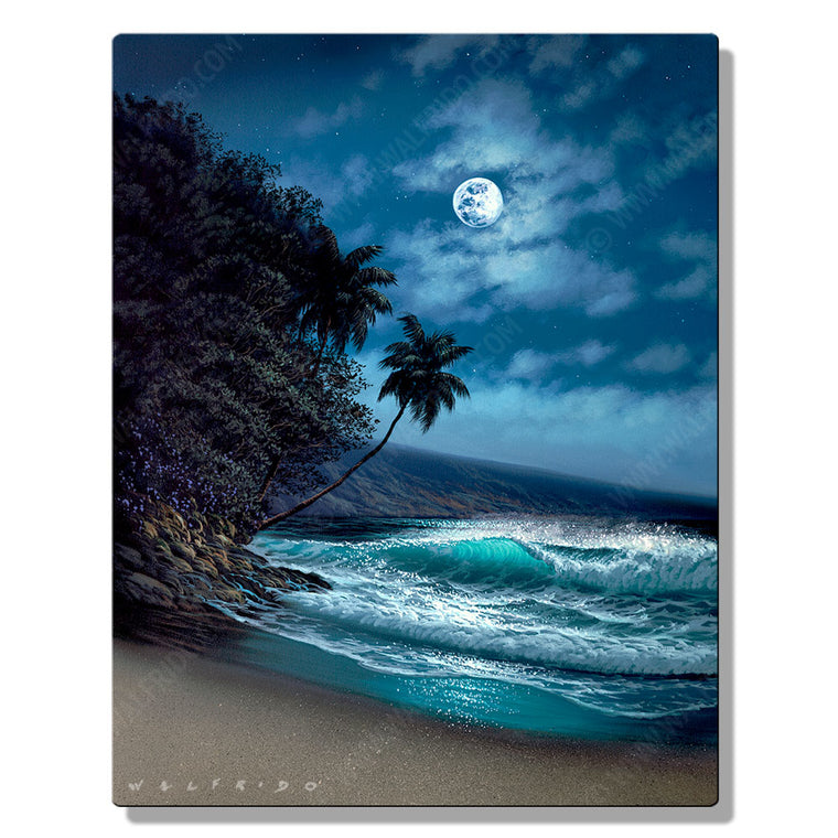 Peace at Night, Open Edition Metal Print by Tropical Hawaii Artist Walfrido