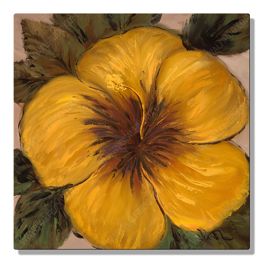 Yellow and Beige Hibiscus, Open Edition Metal Print by Tropical Hawaii Artist Walfrido