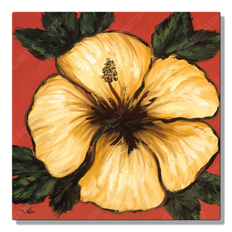 Yellow and Red Hibiscus, Open Edition Metal Print by Tropical Hawaii Artist Walfrido