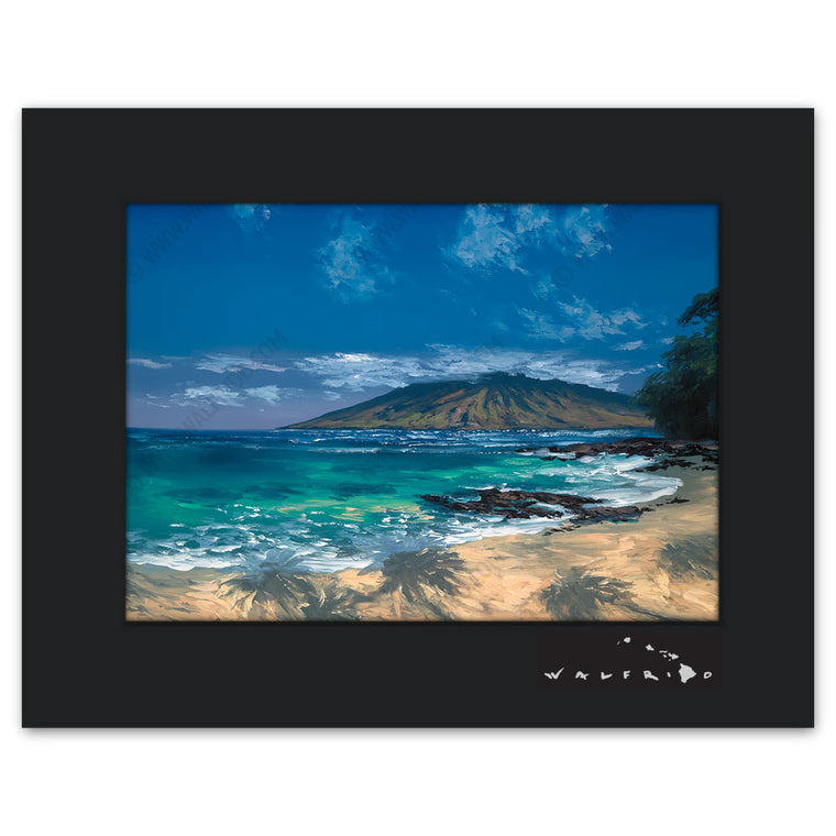 Wailea Blue - Open Edition Matted artwork by Tropical Hawaii Artist Walfrido featuring a classic view of the tropical landscape of the island of Maui with the shadows from palm trees covering the sandy beach.