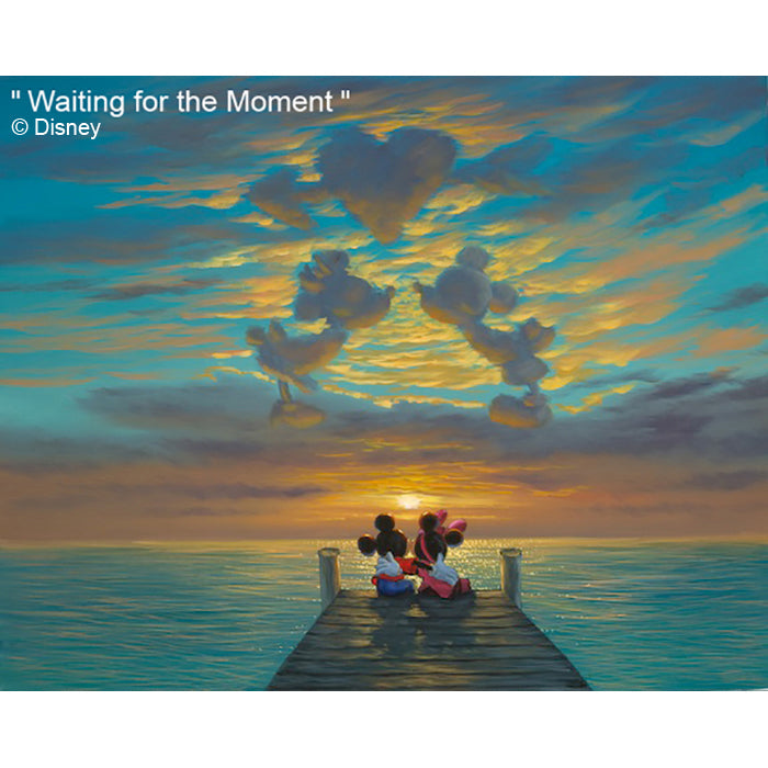 Waiting for the Moment by Hawaii Artist Walfrido featuring the famous Disney couple, Mickey and Minnie Mouse watching the sun set behind the ocean horizon on their romantic vacation in Hawaii.