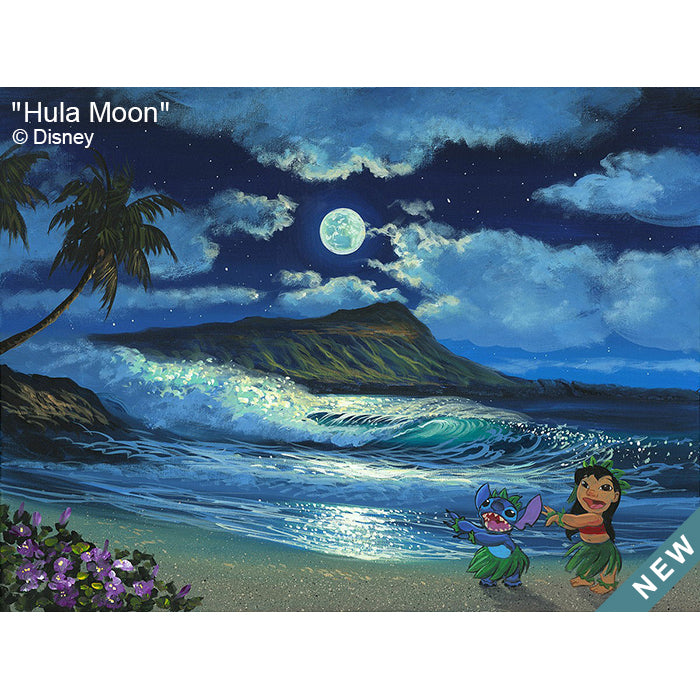 Hula Moon by Hawaii Artist Walfrido featuring the famous Disney duo, Lilo and Stitch, practicing their hula dance in front of the iconic Diamond Head Crater.