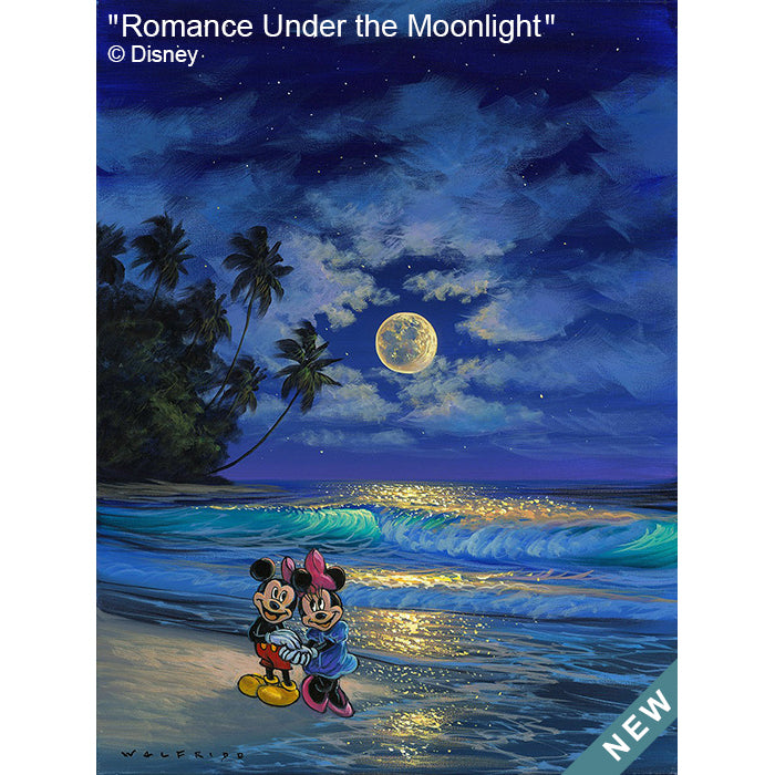 Romance Under the Moonlight by Hawaii Artist Walfrido featuring the famous Disney couple, Mickey and Minnie Mouse, sharing a romantic stroll on the beach watching the waves roll in.