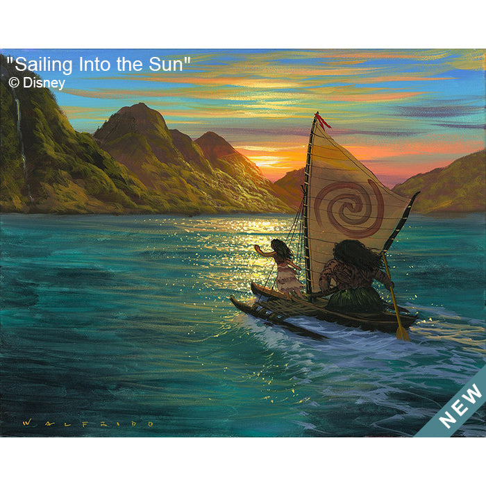 Sailing Into the Sun by Hawaii Artist Walfrido featuring the famous Disney characters, Moana and Maui, sailing across the ocean towards a distant shore with the sun rising behind the mountains.