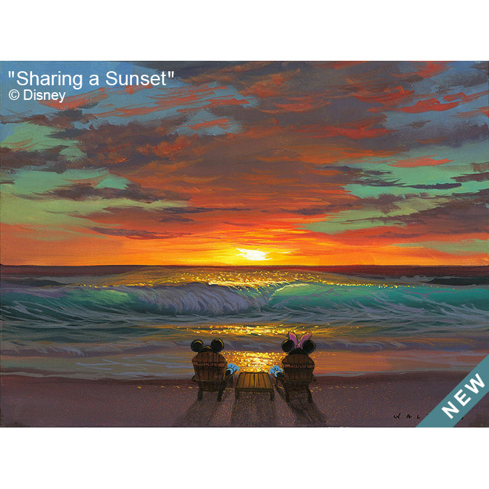 Sharing a Sunset by Hawaii Artist Walfrido featuring the famous Disney couple, Mickey and Minnie Mouse, sitting on a sandy beach, watching the sun set over the ocean.