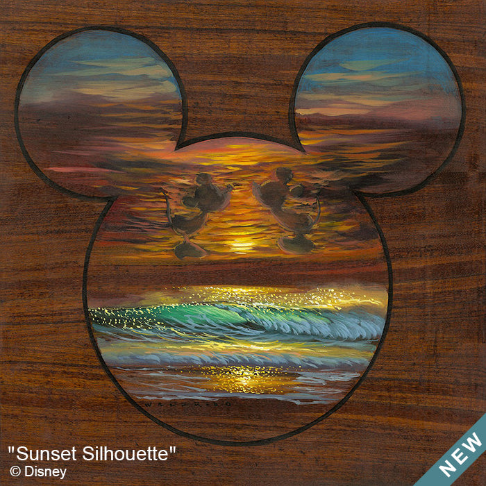 Sunset Silhouette by Hawaii Artist Walfrido featuring a tropical seascape framed within the silhouette of Mickey Mouse on a wood grain surface.