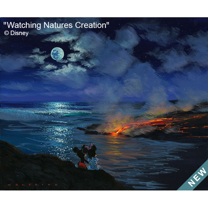 Watching Natures Creation by Hawaii Artist Walfrido featuring the famous Disney couple, Mickey and Minnie Mouse, watching a lava flow at night with a full moon up above.