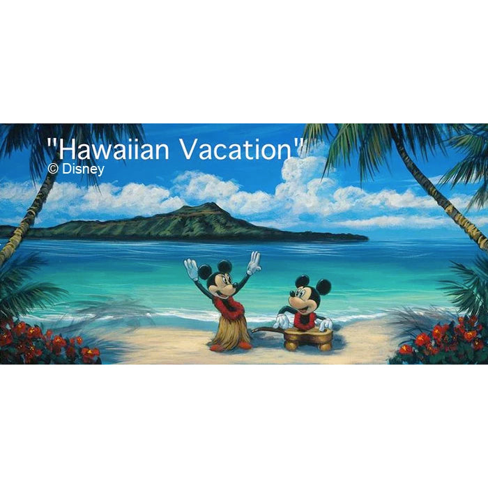 Retired Limited Edition Canvas Giclée by Tropical Hawaii Artist Walfrido featuring the famous Disney couple, Mickey and Minnie Mouse on a tropical vacation in Hawaii.