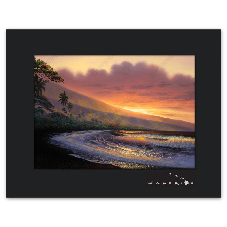 Warmth of the Sun - Open Edition Matted artwork by Tropical Hawaii Artist Walfrido featuring a classic view of the tropical landscape of the island of Maui as seen at sunset.