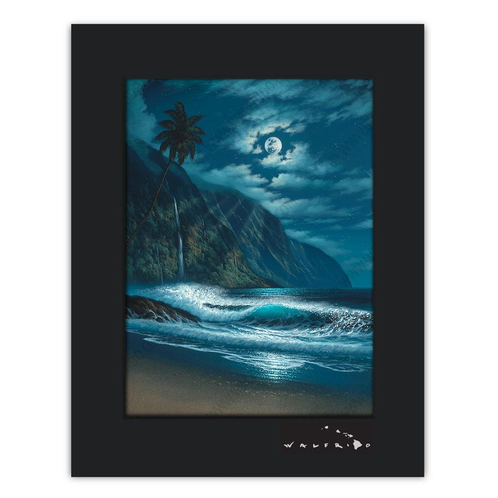 Open Edition Matted artwork by Tropical Hawaii Artist Walfrido featuring the moons rays shining down upon the waves off the coast of Kauai.