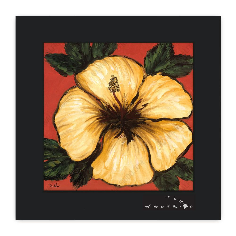 Yellow And Red Hibiscus Matted Print Walfrido