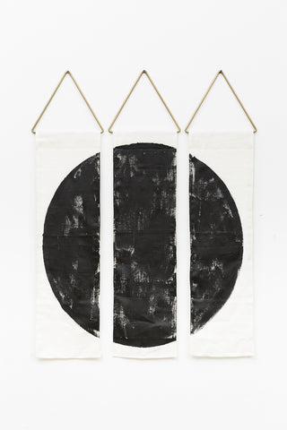 Conejo and Co modern tapestry Ciervo Los Angeles local artist interior design contemporary minimal art ivory linen hand painted black brass geometric handmade art unique boho wall hanging affordable easy installation free shipping