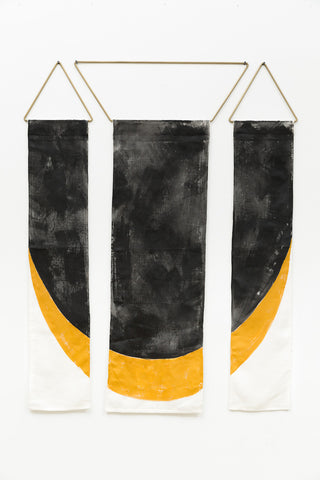 Conejo Co Zorro Los Angeles local artist interior design modern contemporary minimal tapestry circle circle art sewn ivory linen hand painted black ochre gold artist's acrylic solid brass moon geometric trapezoid hardware panel handmade unique natural indigo wall hanging affordable easy installation free shipping decor