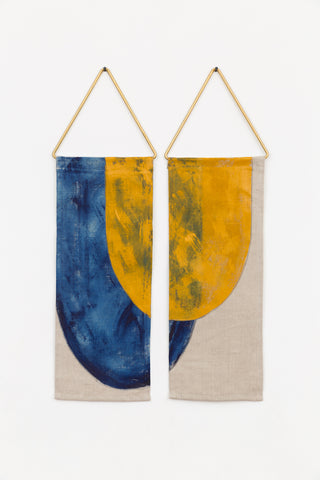 pez modern tapestry art painting indigo ochre conejo and co linen wall hanging handmade geometric brass decor