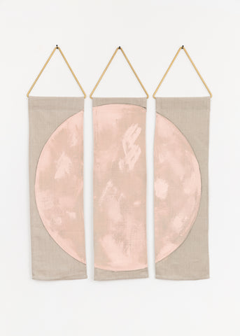 ciervo in himalayan salt conejo and co modern tapestry wall hanging geometric art linen painting handmade brass los angeles
