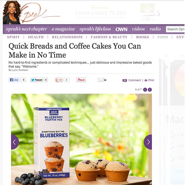 Oprah.com features Cherryvale Farms Everything But The...Baking Mixes