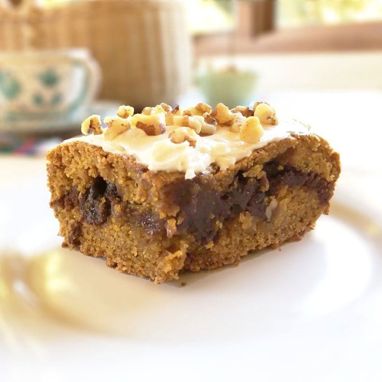 Pumpkin Brownie Cake With Frosting & Walnuts