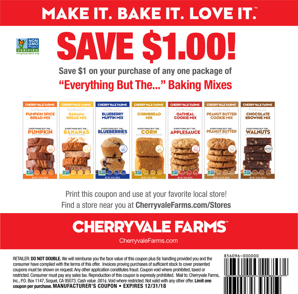 Cheryvale Farms $1 off coupon - Everything But The... Baking Mixes
