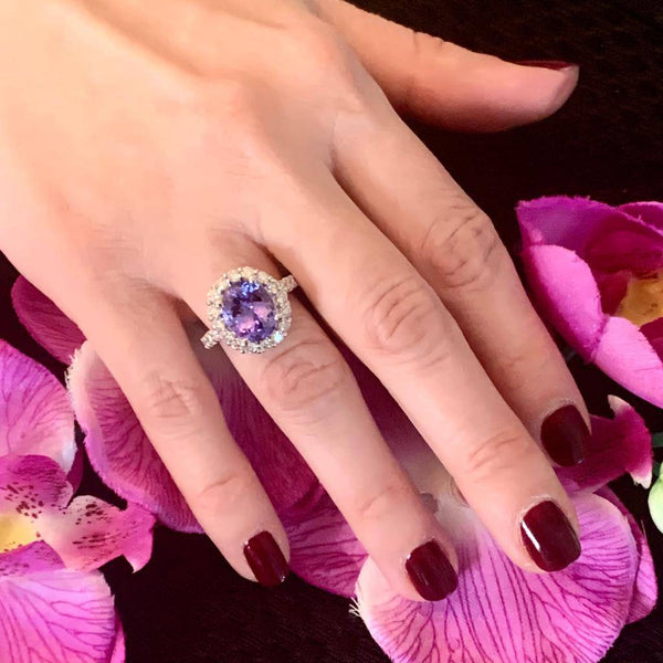 Tanzanite Diamond Ring 14 kt 5.30 TCW Certified $6,950 013306