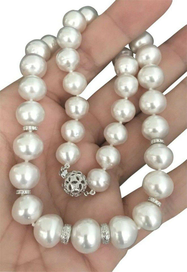 Diamond South Sea Pearl Necklace 14k Gold 13 mm 18.2