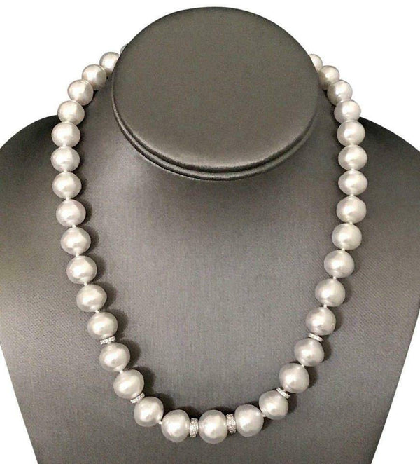 "Diamond South Sea Pearl Necklace 14k Gold 13 mm 18.2"" Certified $15,450 817025"