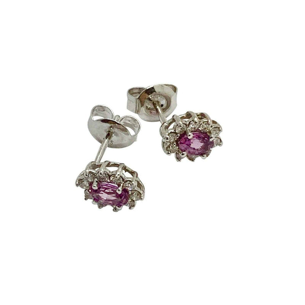 Diamond Sapphire Earrings 18k Gold Stud .90 CTW Certified $2,490 921516