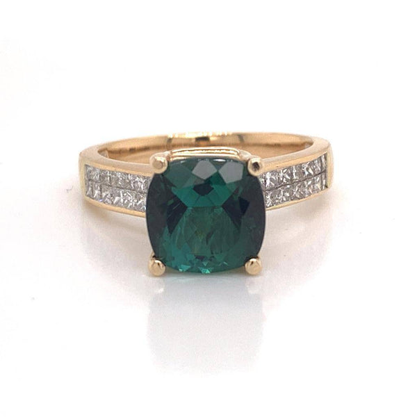 Green Tourmaline Diamond Ring 14 kt 2.80 tcw Certified $3,350 013309