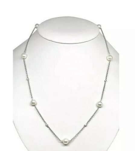 Diamond Akoya Pearl Necklace 14k Gold 7.90 mm 20